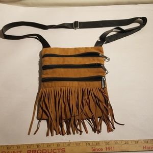 Brown Suede Hippie Chic Fringe Crossbody Purse
